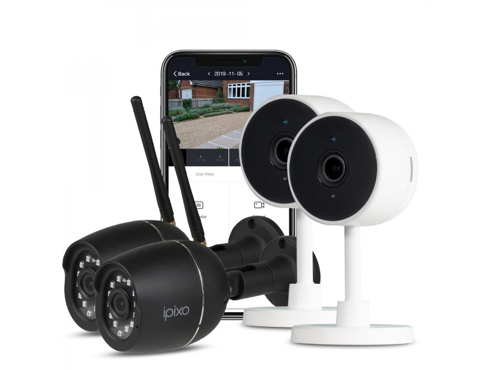 ipixo 1080p WiFi Home Security Camera System. 2 Indoor + 2 Outdoor WiFi Security Cameras