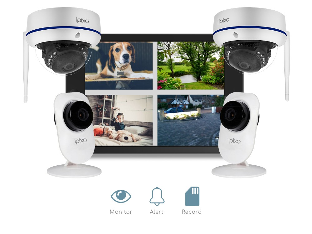 ipixo WiFi Home Security CCTV Camera System HD. Four 128GB IP Cameras