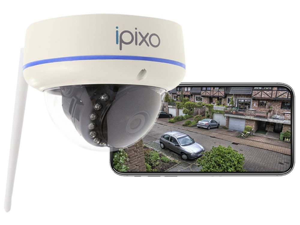 ipixo WiFi Dome Security Camera - Fixed - Outdoor - Weatherproof - Motion Alerts - No monthly charges