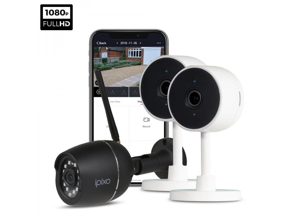 ipixo 1080p WiFi Home Security Camera System. 2 Indoor + 1 Outdoor WiFi Security Cameras