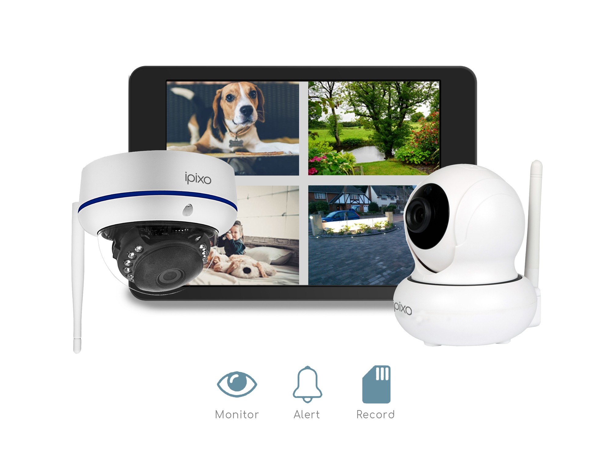 ipixo WiFi Home Security CCTV Camera System HD. Indoor and Outdoor Cameras.