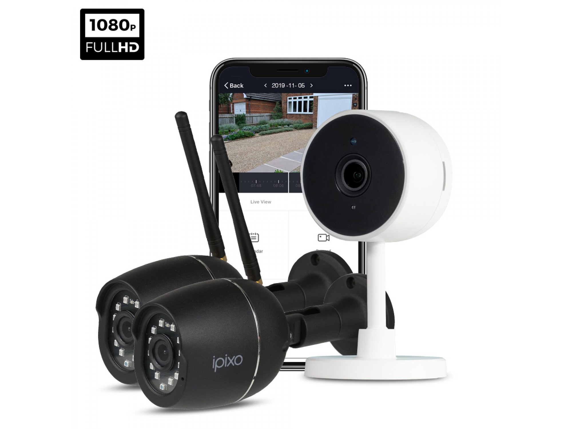 ipixo 1080p WiFi Home Security Camera System. 1 Indoor + 2 Outdoor WiFi Security Cameras