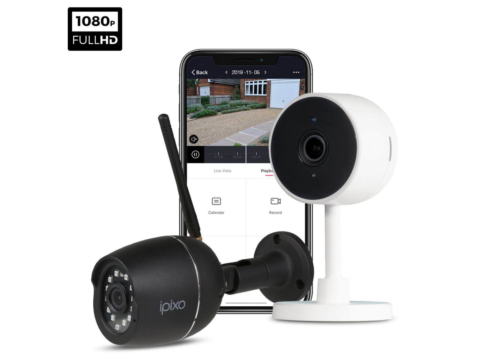 ipixo 1080p WiFi Home Security Camera System. 1 Indoor + 1 Outdoor WiFi Security Camera