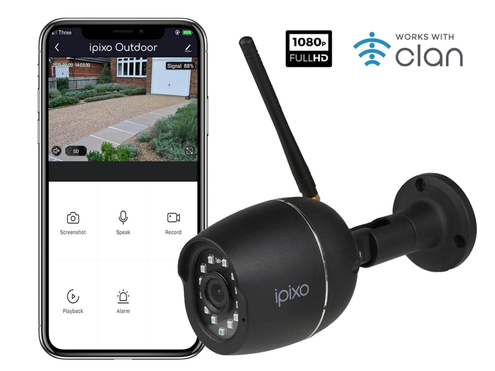 New ipixo Outdoor WiFi 1080p Security Camera -  Fixed - Outdoor - Weatherproof - Motion Alerts - No monthly charges