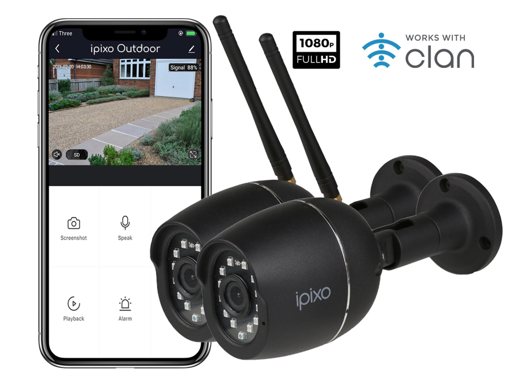 New ipixo Outdoor WiFi 1080p Security Camera (Twin pack)