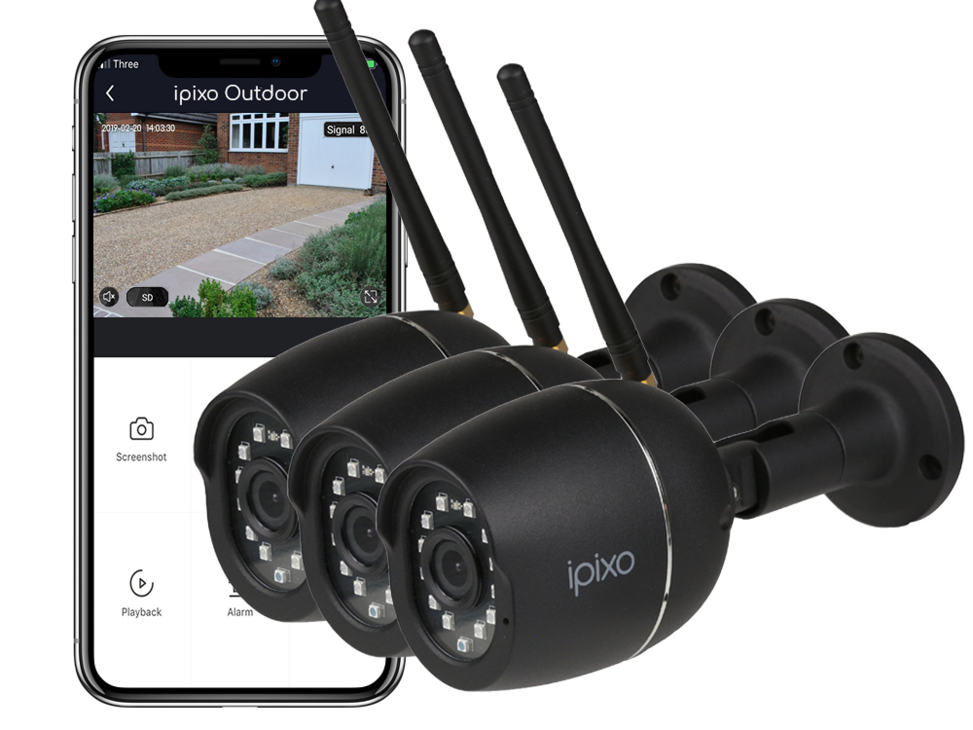 New ipixo Outdoor WiFi 1080p Security Camera (Triple pack)
