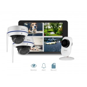 ipixo WiFi Home Security CCTV Camera System HD. 1 indoor + 2 Outdoor WiFi IP Security Cameras