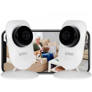 ipixo WiFi Indoor Home Security Cameras (Pack of 2)