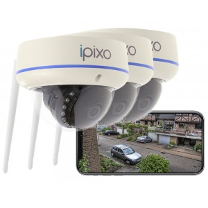 ipixo WiFi Dome Security Camera (Pack of 3)