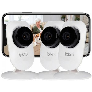 ipixo WiFi IP Indoor Home Security Cameras (Pack of 3)