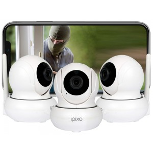 ipixo Rotating WiFi IP Home Security Camera (Pack of 3)